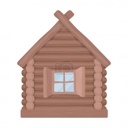 Wooden house icon in cartoon style isolated on white background. Russian country symbol stock vector illustration.