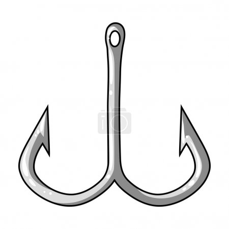 Fishing hook icon in monochrome style isolated on white background. Fishing symbol stock vector illustration.
