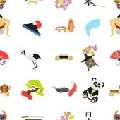 Japan pattern icons in cartoon style. Big collection of Japan vector illustration symbol.