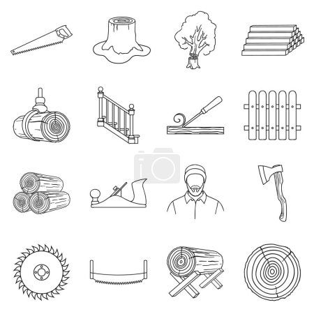 Sawmil and timber set icons in outline style. Big collection sawmill and timber vector symbol stock illustration