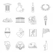 Greece set icons in outline style Big collection of Greece vector symbol stock illustration