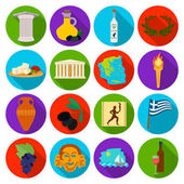 Greece set icons in flat style Big collection of Greece vector symbol stock illustration