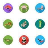 Japan set icons in flat style. Big collection of Japan vector symbol stock illustration