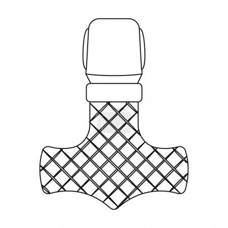 Viking god hammer icon in outline style isolated on white background. Vikings symbol stock vector illustration.