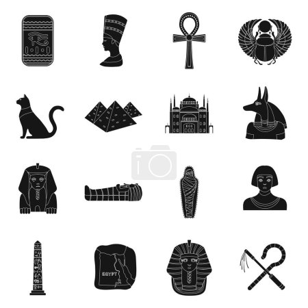 Ancient Egypt set icons in black design. Big colle...