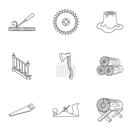 Sawmil and timber set icons in outline style. Big collection of sawmill and timber vector symbol stock illustration
