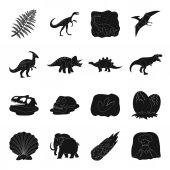 Dinosaurs and prehistoric set icons in black style Big collection of dinosaurs and prehistoric vector symbol stock illustration