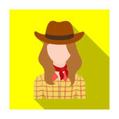 Cowgirl icon in flat style isolated on white background Rodeo symbol stock vector illustration