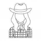 Cowgirl icon in outline style isolated on white background Rodeo symbol stock vector illustration