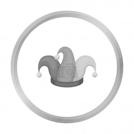 Illustration for Jesters cap icon in monochrome style isolated on white background. Hats symbol vector illustration. - Royalty Free Image