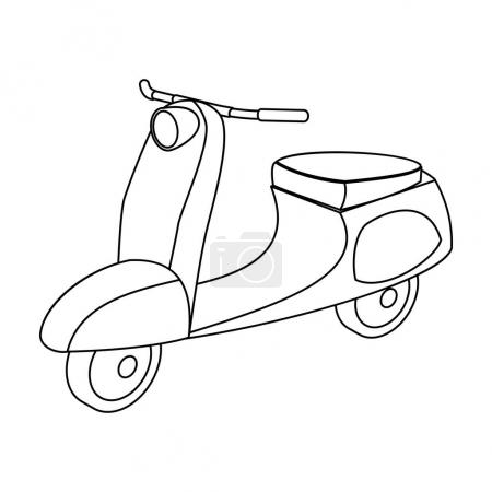 Blue two wheeled scooter. Transport for moving around the city.Transport single icon in outline style vector symbol stock illustration.
