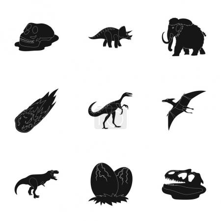 Ancient extinct animals and their tracks and remains. Dinosaurs, tyrannosaurs, pnictosaurs.Dinisaurs and prehistorical icon in set collection on black style vector symbol stock illustration.