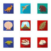 Ancient extinct animals and their tracks and remains Dinosaurs tyrannosaurs pnictosaursDinisaurs and prehistorical icon in set collection on flat style vector symbol stock illustration