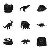 Ancient extinct animals and their tracks and remains Dinosaurs tyrannosaurs pnictosaursDinisaurs and prehistorical icon in set collection on black style vector symbol stock illustration