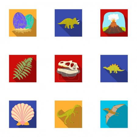 Ancient extinct animals and their tracks and remains. Dinosaurs, tyrannosaurs, pnictosaurs.Dinisaurs and prehistorical icon in set collection on flat style vector symbol stock illustration.