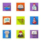 A set of icons on the theme of construction and architects Builders architects and subjects for construction  Architect icon in set collection on flat style vector symbol stock illustration