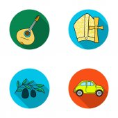 Mandolin papa olive retro autoItaly country set collection icons in flat style vector symbol stock illustration web