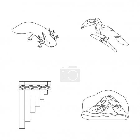 Sampono Mexican musical instrument, a bird with a long beak, Orizaba is the highest mountain in Mexico, axolotl is a rare animal. Mexico country set collection icons in outline style vector symbol