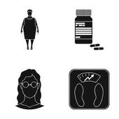 Full woman a girl with glasses a scales with exquisite result Diabeth set collection icons in black style vector symbol stock illustration