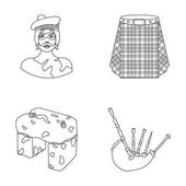 Highlander Scottish Viking tartan kilt scottish skirt scone stone national musical instrument of bagpipes Scotland set collection icons in outline style vector symbol stock illustration web