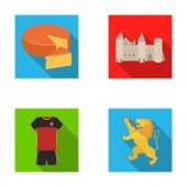 Cheese lion and other symbols of the countryBelgium set collection icons in flat style vector symbol stock illustration