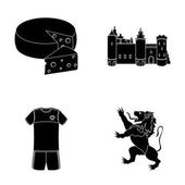 Cheese lion and other symbols of the countryBelgium set collection icons in black style vector symbol stock illustration