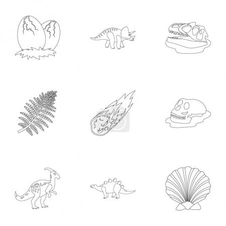 Ancient extinct animals and their tracks and remains. Dinosaurs, tyrannosaurs, pnictosaurs.Dinisaurs and prehistorical icon in set collection on outline style vector symbol stock illustration.