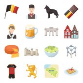 Flag Brussels chocolate cheese stained glass lion and other symbols Belgium set collection icons in cartoon style vector symbol stock illustration