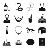 Alcohol atelier appearance and other  icon in black style food architecture industry furniture clothing icons in set collection