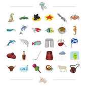 Species sea animal and other web icon in cartoon style Scotland country tradition icons in set collection