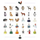 fauna profession work and other web icon in cartoon styleears tail paws icons in set collection