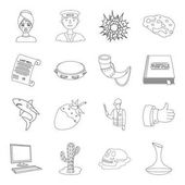 beauty profession history and other web icon in outline style music religion technology icons in set collection