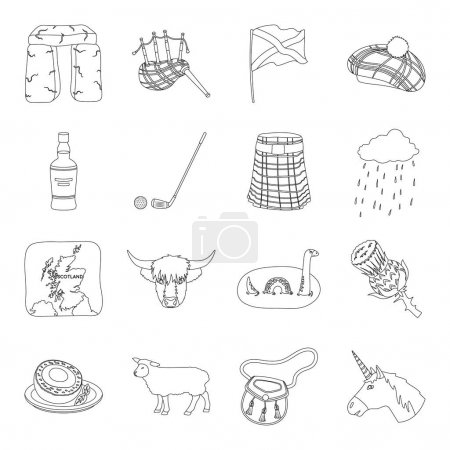 Illustration for Kilt, bagpipes, thistles are national subjects of Scotland. Scotland set collection icons in line style vector symbol stock illustration . - Royalty Free Image
