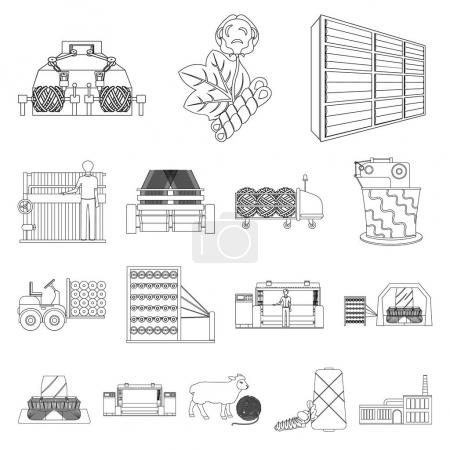 Textile industry outline icons in set collection for design.Textile equipment and fabrics vector symbol stock web illustration.