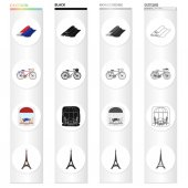 Rolls of fabric tricolor bicycle French cafe Eiffel Tower France set collection icons in cartoon black monochrome outline style vector symbol stock illustration web