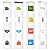 domes museum history and other web icon in different stylepalace castle ancient icons in set collection