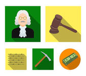 Judge wooden hammer barbed wire pickaxe Prison set collection icons in flat style vector symbol stock illustration web