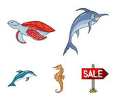 Merlin turtle and other speciesSea animals set collection icons in cartoon style vector symbol stock illustration web