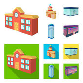Bank office skyscraper city hall building college building Architectural and structure set collection icons in cartoonflat style vector symbol stock illustration web