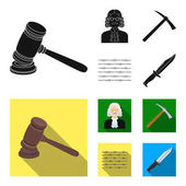 Judge wooden hammer barbed wire pickaxe Prison set collection icons in black flat style vector symbol stock illustration web