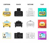 The counter of the fare in the taxi the taxi car the driver badge the parking lot of the car Taxi set collection icons in cartoonblackoutlineflat style vector symbol stock illustration web
