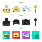The counter of the fare in the taxi the taxi car the driver badge the parking lot of the car Taxi set collection icons in cartoonblackflat style vector symbol stock illustration web