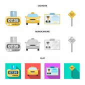 The counter of the fare in the taxi the taxi car the driver badge the parking lot of the car Taxi set collection icons in cartoonflatmonochrome style vector symbol stock illustration web