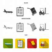 Cargo plane cart for transportation boxes forklift documentsLogisticset collection icons in black flat monochrome style vector symbol stock illustration web