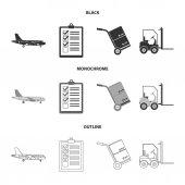 Cargo plane cart for transportation boxes forklift documentsLogisticset collection icons in blackmonochromeoutline style vector symbol stock illustration web