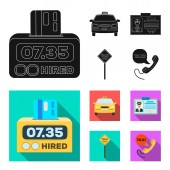 The counter of the fare in the taxi the taxi car the driver badge the parking lot of the car Taxi set collection icons in black flat style vector symbol stock illustration web