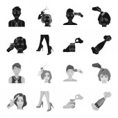 Curling hair high heels and other web icon in blackmonochrome style A pack of cigarettes a bottle of champagne in hand icons in set collection