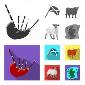 The state flag of Andreev Scotland the bull the sheep the map of Scotland Scotland set collection icons in monochromeflat style vector symbol stock illustration web