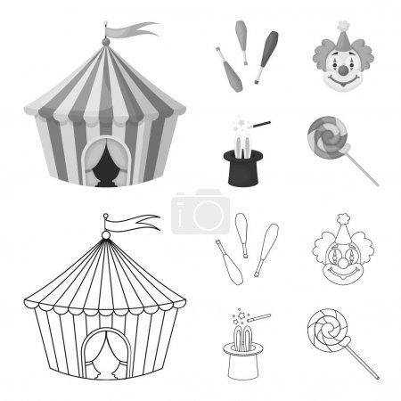 Circus tent, juggler maces, clown, magician hat.Circus set collection icons in outline,monochrome style vector symbol stock illustration web.