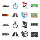 Round the clock road truck JPSLoqisticset collection icons in blackcartoon style vector symbol stock illustration web